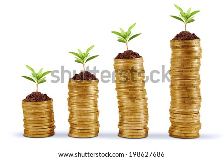 Symbol of business growth with chart made of golden coin - stock photo