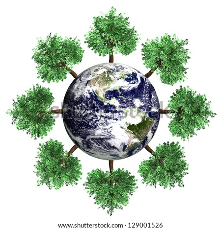 Symbol of environment and ecology. A world with trees. 3D rendered Illustration. Elements of this image furnished by NASA - stock photo