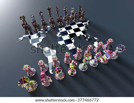symbol of geopolitics, chess board out of the world map with chess play made of country flags  - stock photo
