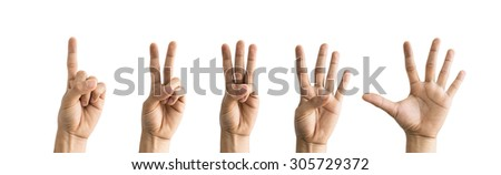 Symbol of Hands show the number one, two, three, four, five