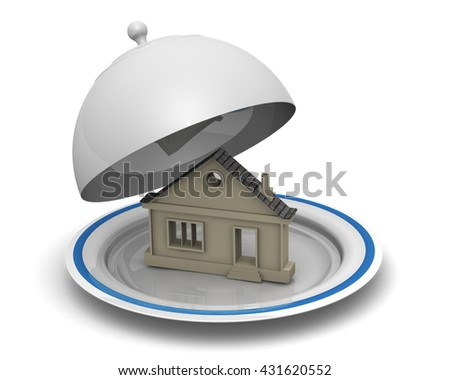 Symbol of house on serving tray. The symbol of the house on a serving tray platter.. Isolated. 3D Illustration - stock photo