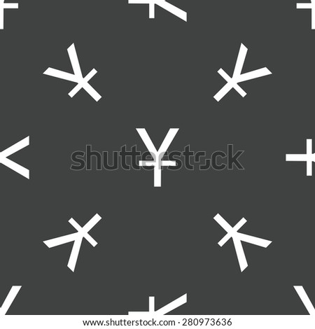 Symbol of japanese yen repeated on grey background - stock photo