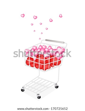 Symbol of Love and Luxury, A Shopping Cart Full with Beautiful Pink and Red Hearts for Someone Special Isolated on White Background.  - stock photo