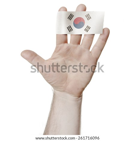 Symbol of national honor: the open palm of the hand with the flag of South Korea - stock photo