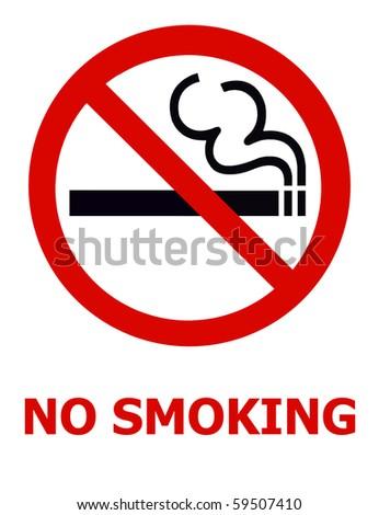 Symbol of No Smoking Zone Sign isolated on White - stock photo