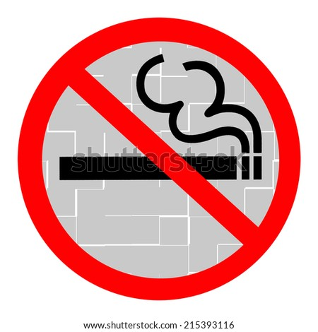 Symbol of No Smoking Zone Sign with Tile background - stock photo