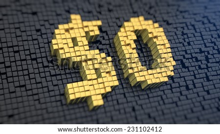 Symbol of  '$0' of the yellow square pixels on a black matrix background. Absolutely free gift concept. - stock photo