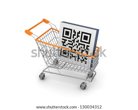 Symbol of QR code in a shopping trolley.Isolated on white background.3d rendered.