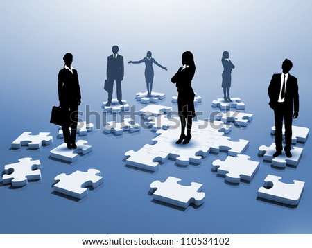 Symbol of social network and human figures - stock photo