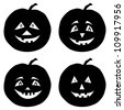 Symbol of the holiday Halloween pumpkins Jack O Lantern, set black silhouettes on white background - stock photo