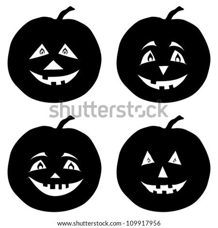 Symbol of the holiday Halloween pumpkins Jack O Lantern, set black silhouettes on white background - stock photo