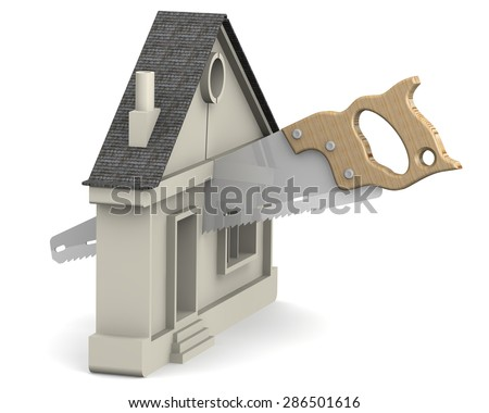 Symbol of the house is cut with a hacksaw. The concept of the division of property. - stock photo