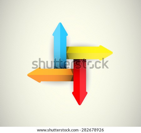 symbol of the 4 volume arrows - infographics of your data - stock photo