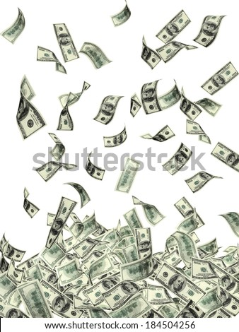 Symbol of wealth and success -  rain from dollars. Isolated on white background - stock photo