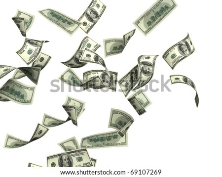 Symbol of wealth and success -  rain from dollars. Isolated over white - stock photo