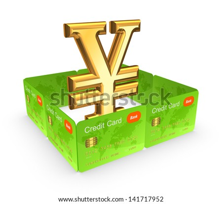 Symbol of yen behind the wall of credit cards.Isolated on white.3d rendered. - stock photo
