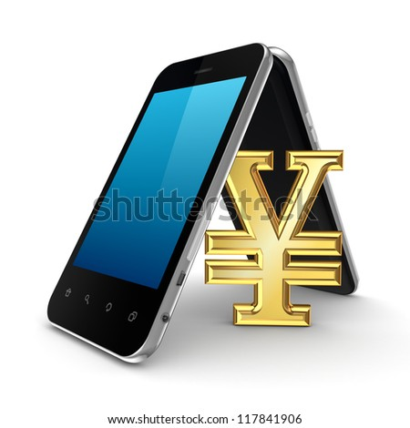 Symbol of yen under the roof made of mobile phones.Isolated on white background.3d rendered. - stock photo