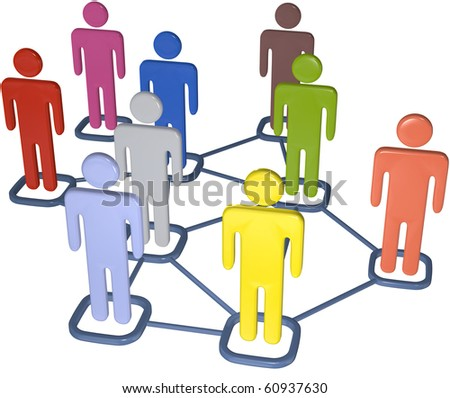 Symbol people connect in nodes of 3D social media network. - stock photo