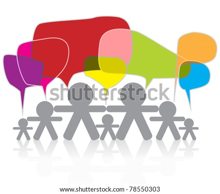 symbol people talk in colorful social media copy space speech bubbles - stock photo