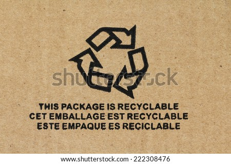 Symbol - Recyclable packaging - stock photo