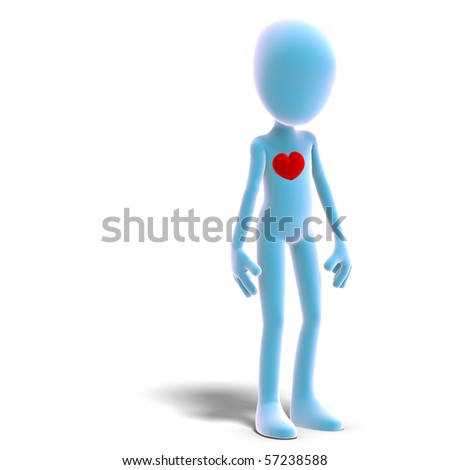 symbolic 3d male toon character has a heart. 3D rendering with clipping path and shadow over white - stock photo