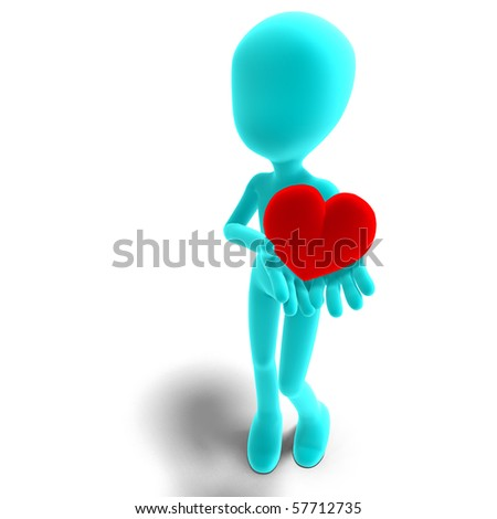 symbolic 3d male toon character holds his heart in his hands. 3D rendering with clipping path and shadow over white - stock photo