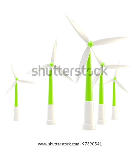 Symbolic glossy wind power stations isolated on white - stock photo