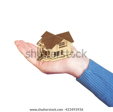 symbolic image of a house on the palm