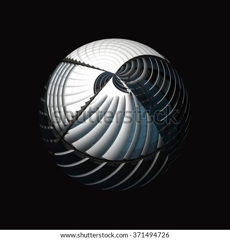 Symbolic image of globe / sphere rendered in hi-tech manner. Illustration on the subject of globalization or time zones. Abstract composition in black and white colors. - stock photo