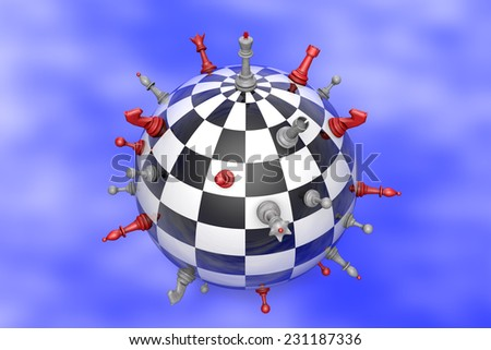 Symbolic image (peaceful planet of chess and chess).  - stock photo