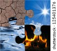 symbolic image showing the four elements air, water, fire, soil - stock photo