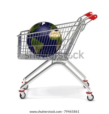 symbolic planet earth in a  shopping cart,  isolated on white  background - stock photo