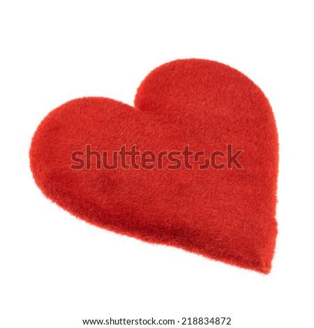 Symbolic plush red heart isolated over the white background - stock photo