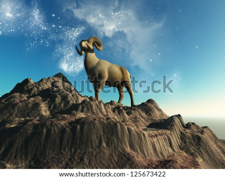 Symbolic representation of the sign of Aries - stock photo
