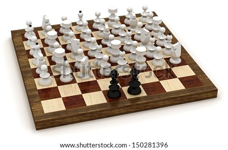 Symbolic revolution - lots of chess pieces in the front of king and queen - stock photo