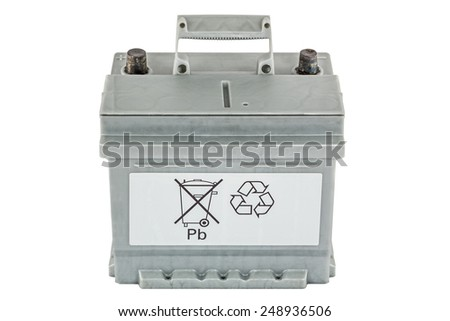 Symbolic the call for protection of the environment through the recycling of lead-acid  batteries, isolated on white background - stock photo