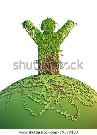 symbolic tree man on the planet, 3d render - stock photo