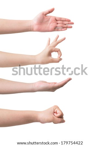 Symbolize the hands of women isolated on a white background. - stock photo