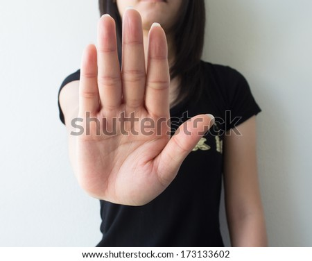 Symbolize the woman's hand. - stock photo