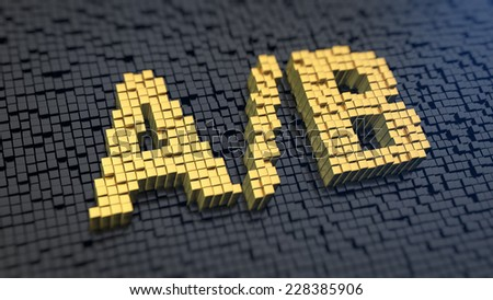 Symbols 'A/B' of the yellow square pixels on a black matrix background. Split tests concept, leads generation termin. - stock photo