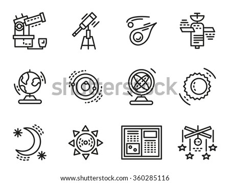 Symbols for astronomy. Flat simple line icons. Science and education. Web design elements for business. - stock photo