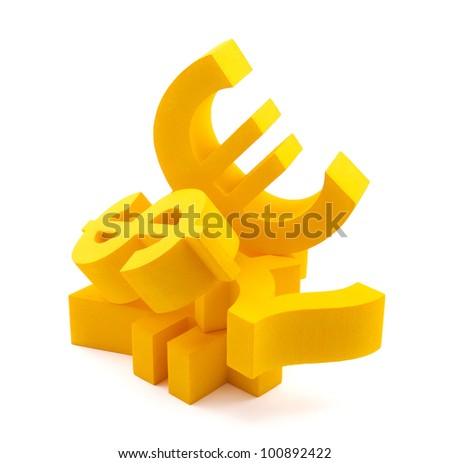 Symbols of currency with clipping path - stock photo