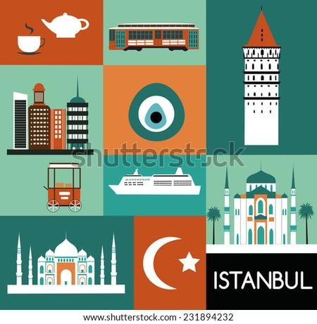 Symbols of Istanbul Turkey. - stock photo