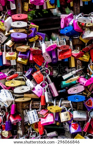Symbols of love in Verona, Juliet yard, Italy, - stock photo