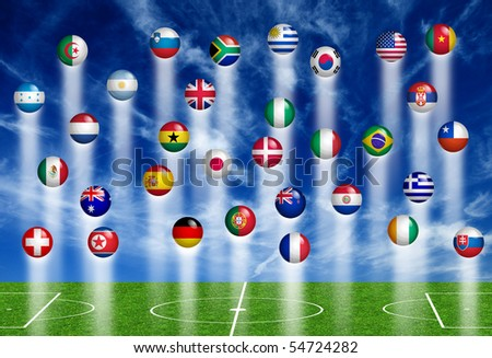 symbols of nations and soccer pitch