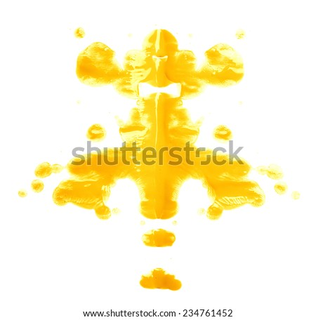 Symmetric abstract paint blot as in a Rorschach test isolated over the white background - stock photo
