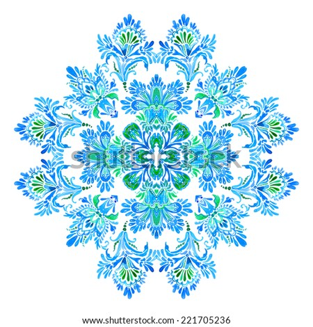 symmetric oriental mandala ornament illustration - stock photo