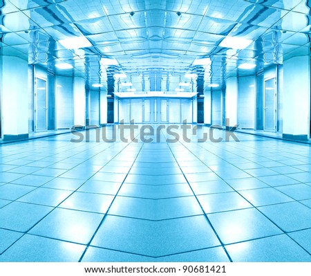 symmetric room inside contemporary airport - stock photo