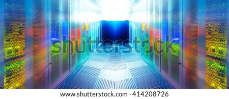 symmetric server room with modern communication and server equipment - stock photo