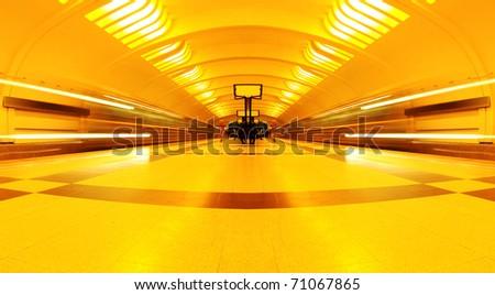 symmetric underground station - stock photo